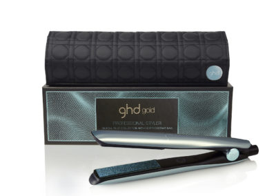 Glacial blue gold styler and box
