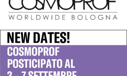 Si svolgerà dal 3 al 7 settembre 2020 la 53a edizione di Cosmoprof Worldwide Bologna.