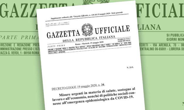 La circolare relativa al decreto rilancio pubblicata sulla Gazzetta Ufficiale