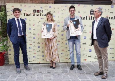 Il Sindaco di Costacciaro Andrea Capponi, l_attrice e influencer Jenny De Nucci, il regista Lorenzo Giovenga e il nipote di Tito Marconi